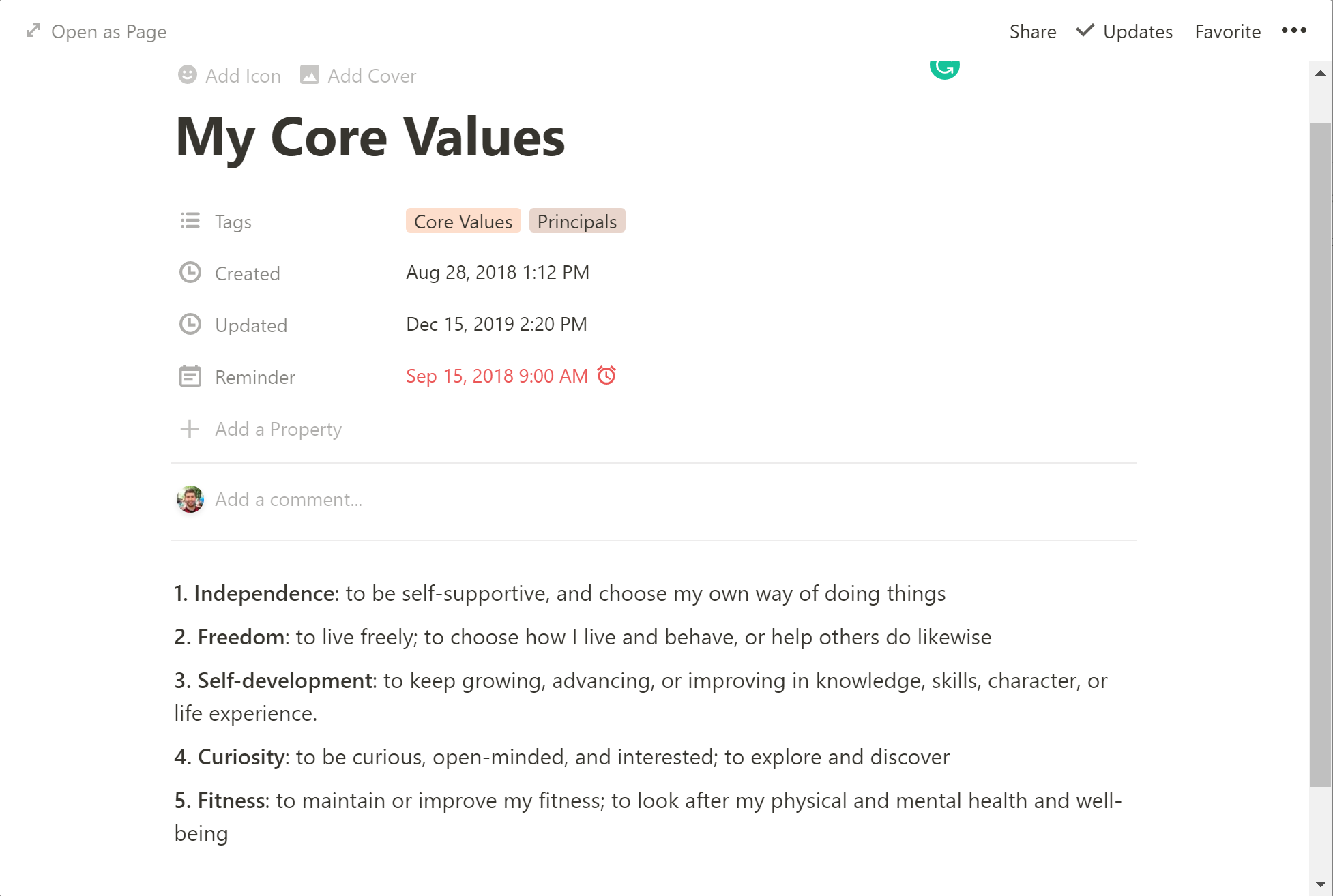 My core values listed in Notion