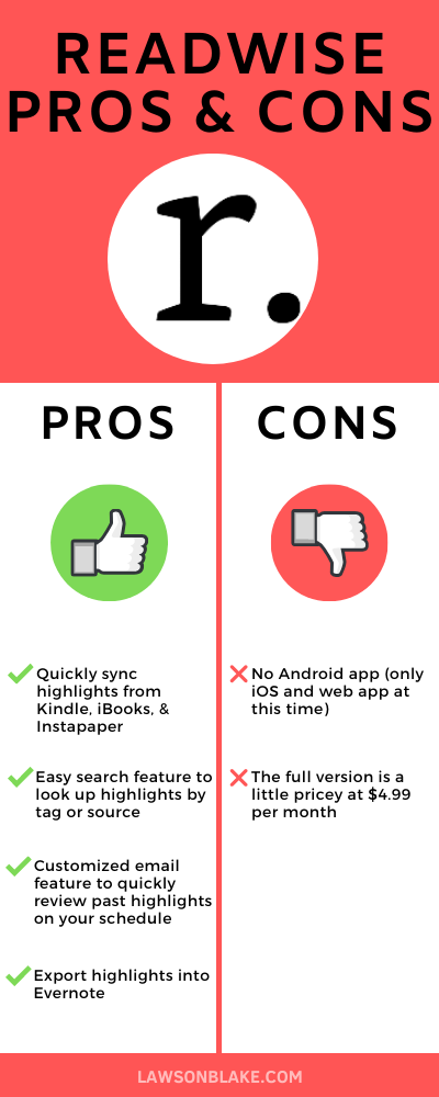 Readwise Pros & Cons infographic