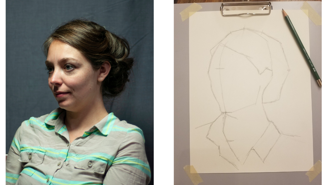 Block-in method for drawing a portrait