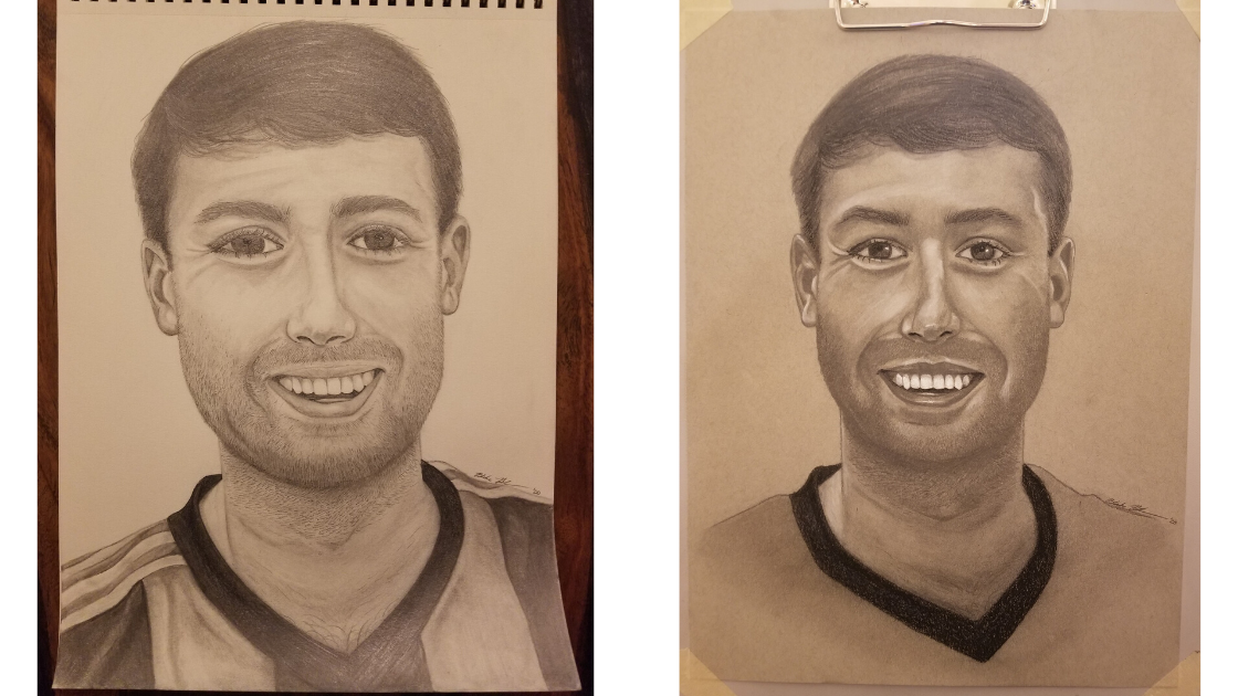 Before and after self-portrait comparison