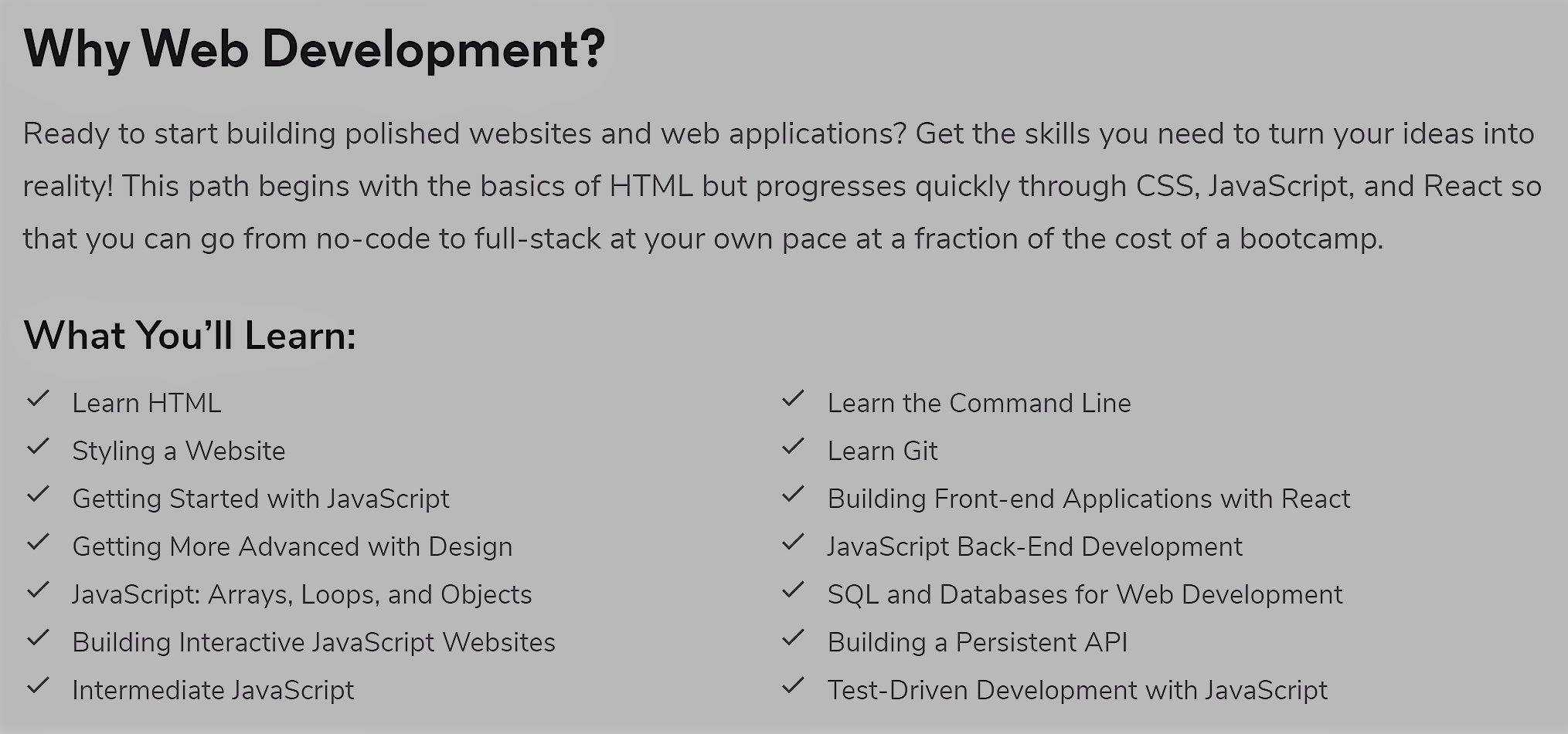 Codecademy Web Development course page