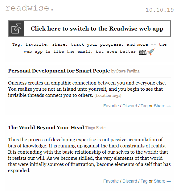 Readwise daily email