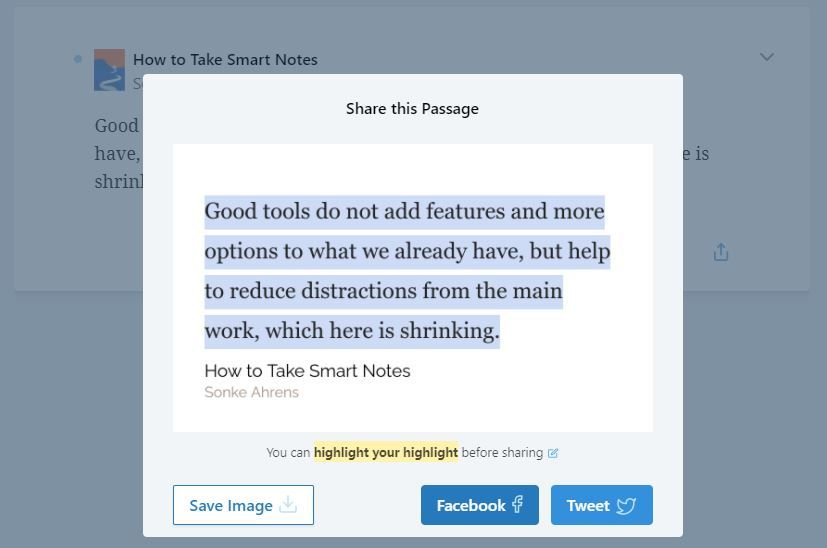 Readwise sharing feature