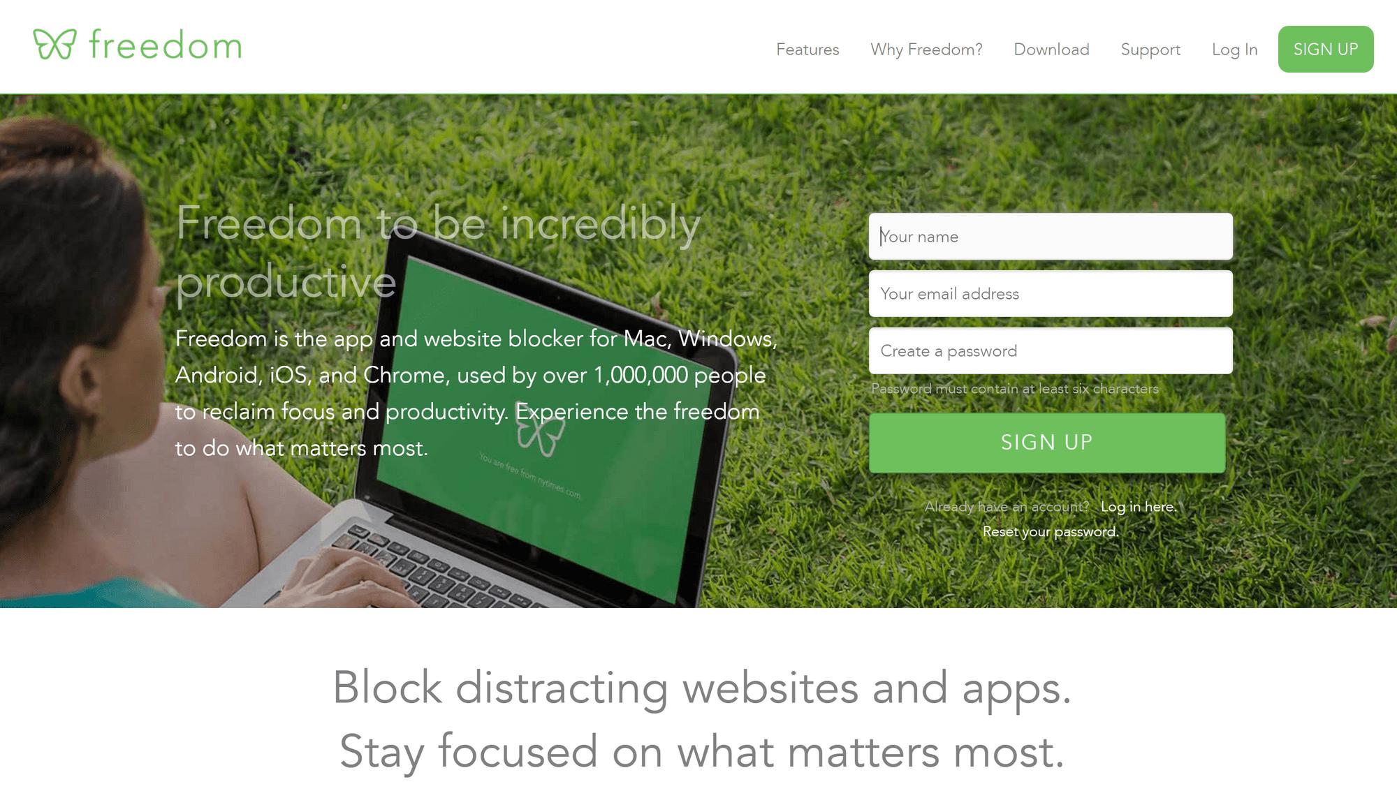 Freedom App's homepage